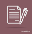 contract outline icon white color vector image