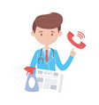 covid19 19 quarantine doctor with and hands spray vector image vector image
