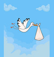 cute stork delivering baby bundle on sky vector image