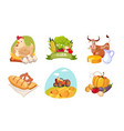 farm animals poultry and eco fresh products set vector image vector image