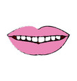 female mouth lips teeth smile vector image