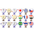 flag and attractions in world globe vector image