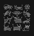 funny sketch bull collection lunar horoscope sign vector image vector image