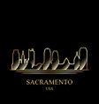 gold silhouette of sacramento on black background vector image vector image