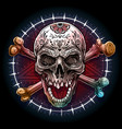 graphic human skull with pentagram star vector image