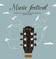 guitar neck with strings turn into white birds vector image vector image