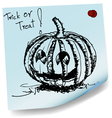 halloween pumpkin sketch on sticky paper vector image vector image
