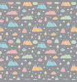 hand drawn seamless pattern with trees and vector image vector image