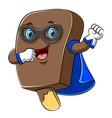 happy super hero ice cream chocolate cartoon vector image