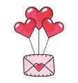 heart balloons with envelope vector image vector image