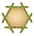 hexagonal green bamboo stems frame with rope old vector image
