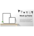 interior poster mock up with empty frames vector image vector image