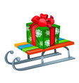 iron sleigh with festive gift box isolated on vector image vector image