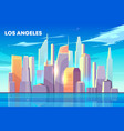 los angeles city bay skyline cartoon vector image vector image