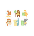 lovely animals with banners set cute fox bear vector image