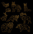 low poly luxury golden line animals set origami vector image vector image