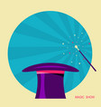 magic hat and magic wand label for design vector image vector image
