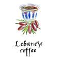 mediterranean lebanese coffee cup vector image vector image