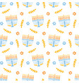 menorah seamless pattern isolated on white vector image vector image