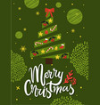 merry christmas greeting card abstract xmas tree vector image