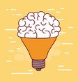 middle light bulb silhouette with brain inside and vector image vector image