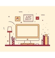 Modern designer work space linear style computer vector image vector image