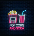 neon glowing sign of pop corn and soda on a dark vector image vector image