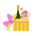 opened yellow gift box with alcohol bottle vector image