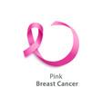 pink ribbon - breast cancer awareness day symbol vector image vector image