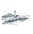 portland lighthouse sketch landscape line skyline vector image vector image