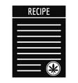 recipe marijuana paper icon simple style vector image vector image