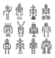 Robots Doodle stile Black Icons Set vector image
