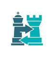 rook and king chess exchange castling colored vector image