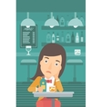 Sad woman with bottle and glass vector image vector image