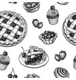 seamless pattern with fresh fruit pastries vector image