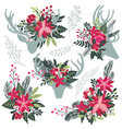 set colorful christmas floral bouquets vector image vector image