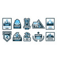 set logos stickers posters on theme of vector image