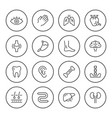 set round line icons of human organs vector image vector image