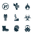 sign icons set with flammable boot step up and vector image