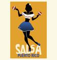 silhouette girl dancing salsa with maracas vector image