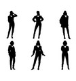 six silhouettes of modern women vector image