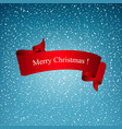 snowflakes in the blue sky and red ribbon vector image vector image