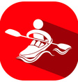 Sport icon with athlete on canoe vector image