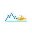 summer sun and mountain adventure logo design vector image vector image