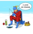Superhero on ice fishing comic book vector image