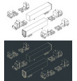 trucks and trailers isometric vector image vector image
