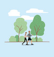 young couple running on the park vector image vector image