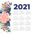 2021 new year calendar template with flower