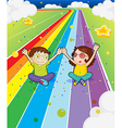 A young girl and a young boy at the colorful road vector image vector image