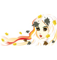 Autumn Girl with White Hair2 vector image vector image